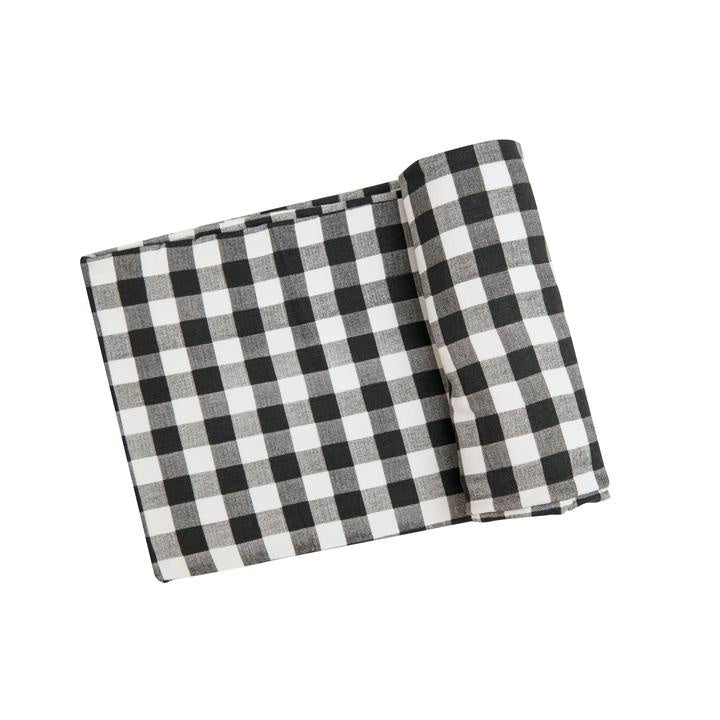 Gingham Swaddle Blanket - Black