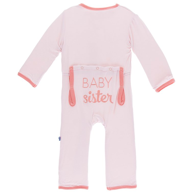Applique Coverall with Zipper - Macaroon Baby Sister
