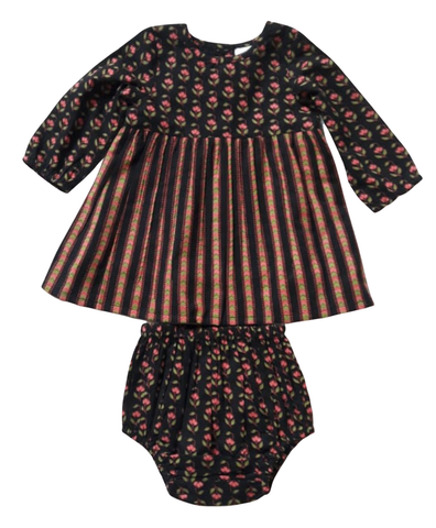 Maroon Pin Stripe Detail Dress & Bloomer