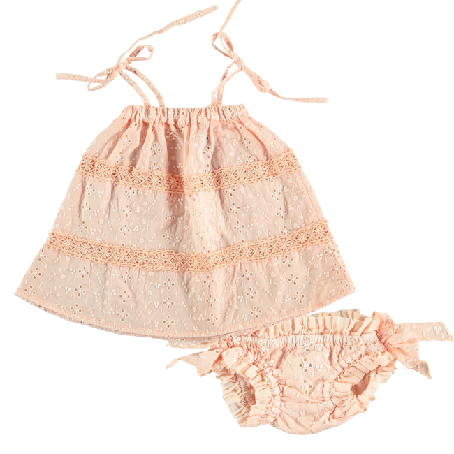 Swiss Embroidered Dress & Bloomer Set - Salmon