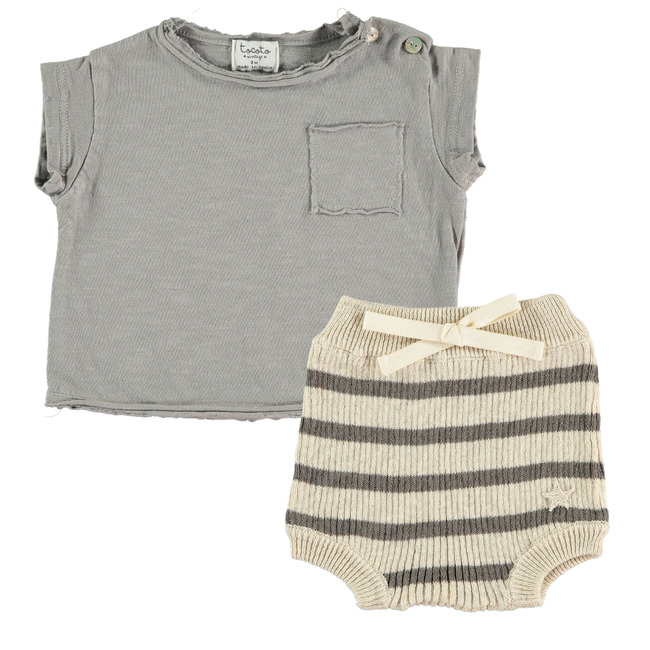 Pocket Tee Shirt & Striped Bloomer Set