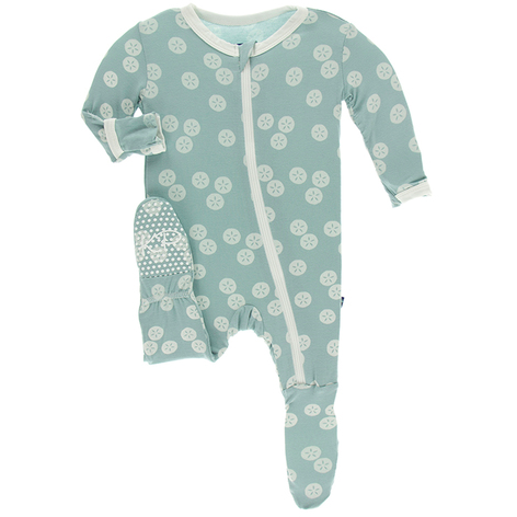 Print Footie with Zipper - Jade Sand Dollar