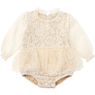 Vintage Lace Bodysuit with Tulle Skirt - Ivory
