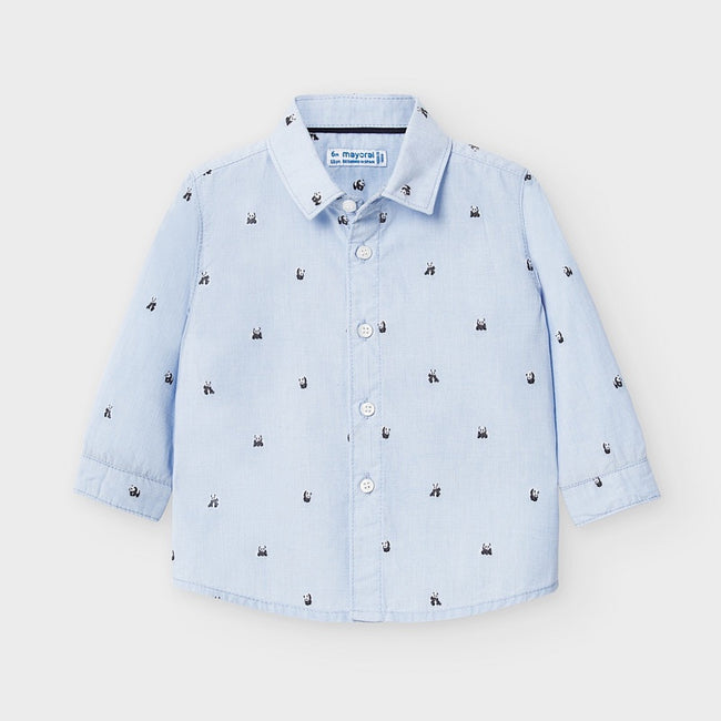 Panda Collared Shirt - Blue