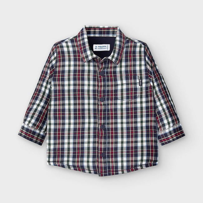 Checkered Button Up Overshirt - Blue/Red