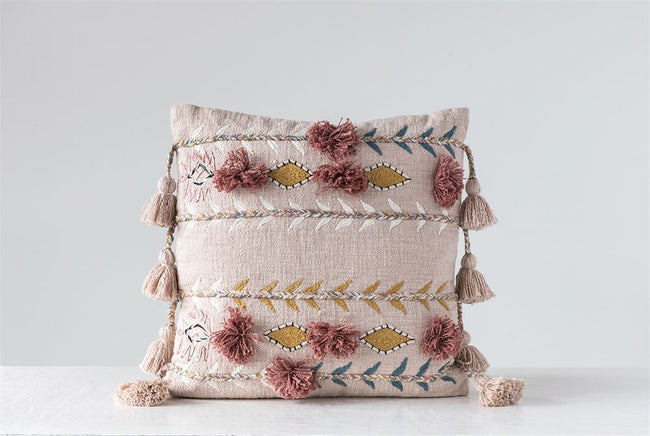 "Embroidered Pillow with Tassels - Pink - 20"" x 20"""