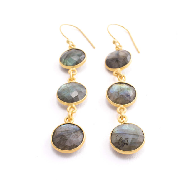 Aurora Earrings - Labradorite Bezel