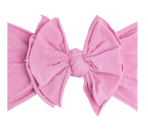 Shab-Bow-Lous Headband - Frosting with Pink Dots