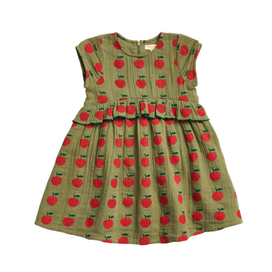 Caroline Dress - Olive Green Apple