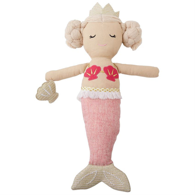 Light Pink Plush Linen Mermaid Doll