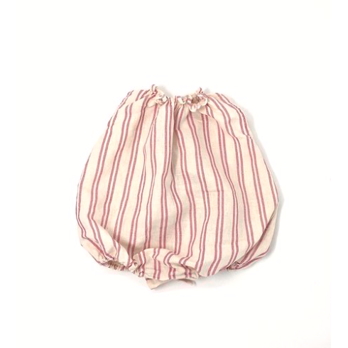 Striped Cotton Romper - Pink & Ivory