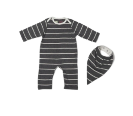 Romper & Bib Set - Charcoal Stripe