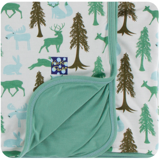Print Swaddle Blanket - Natural Woodland Holiday