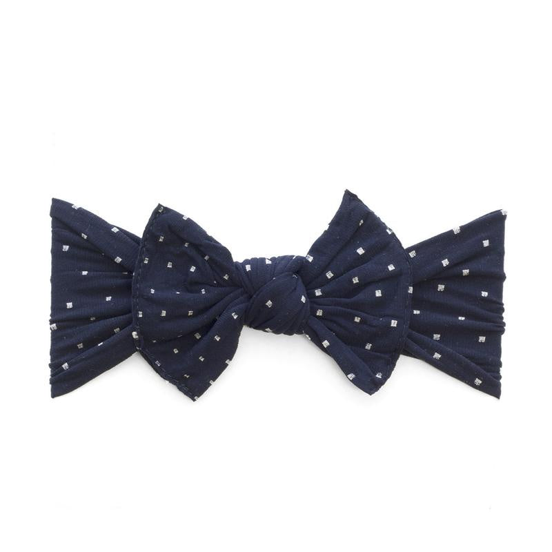 Patterned Knot Headband - Navy Dot