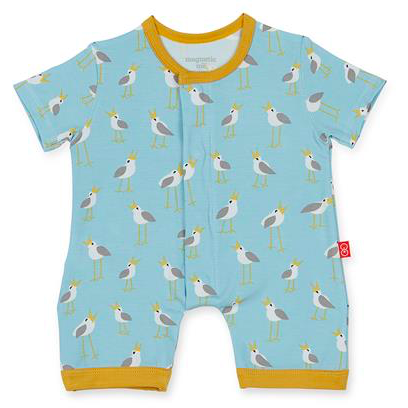 Blue Plovers Modal Magnetic Romper