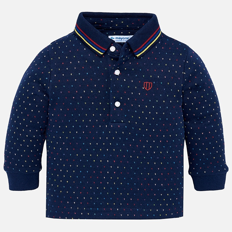 Micro-Pattern Long Sleeve Polo