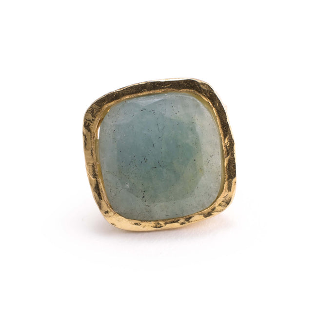 Carla Ring - Aquamarine Brass - 6.5