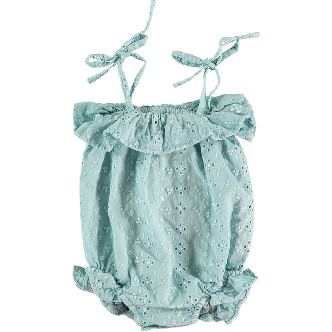 Swiss Embroidered Romper - Green