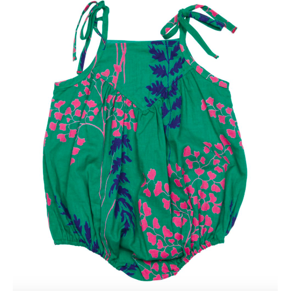 Monroe Bubble Romper - Bosphorous Green Fern