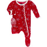 Muffin Ruffle Footie with Zipper - Crimson Snowflake