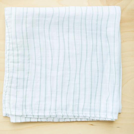 Olive Branch Stripe Cotton Muslin Swaddle Blanket