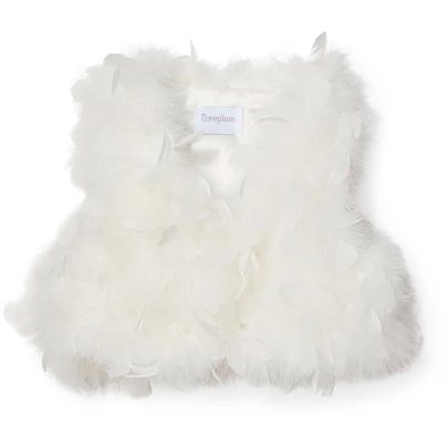 Farah Feather Vest - Lucy White