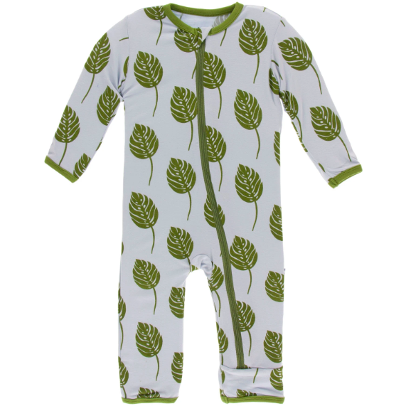 Print Coverall with Zipper - Dew Philodendron