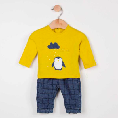 Penguin Tee and Chambray Pant Set