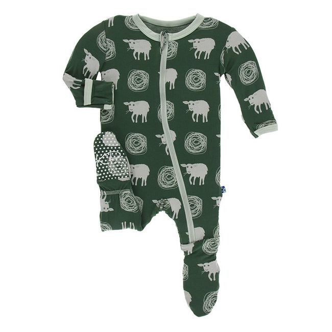 Print Footie with Zipper - Topiary Tuscan Sheep