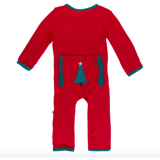 Applique Coverall with Zipper - Crimson Tree
