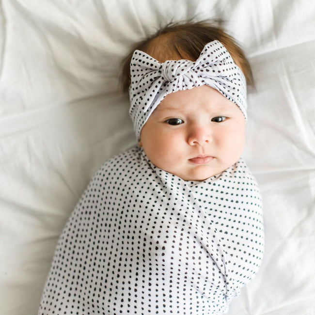 Dots Bamboo Swaddle & Headband Set