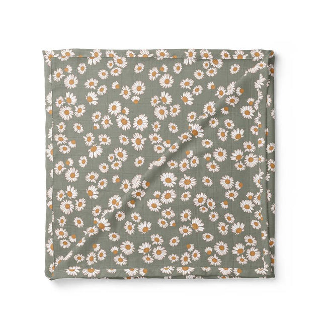 Daisy Swaddle Blanket - Sage Green