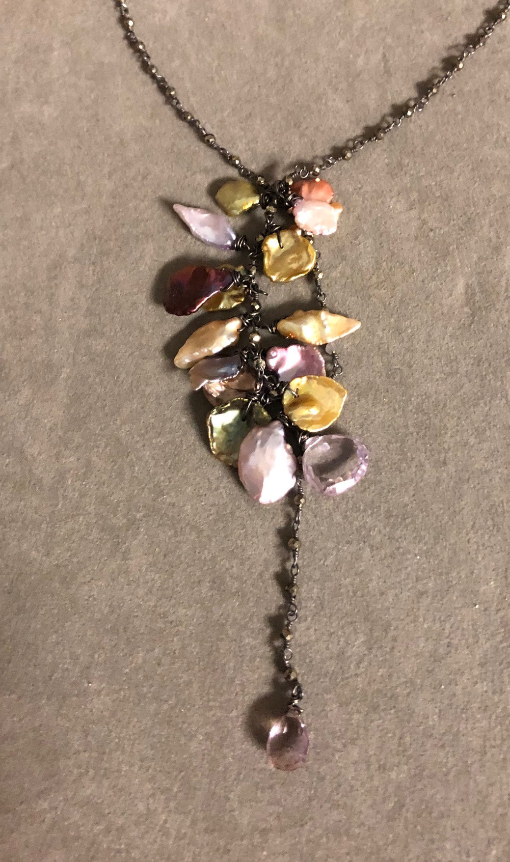 Keishi Pearls on Pyrite Rosary Necklace