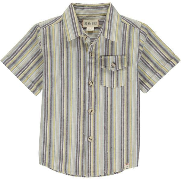 Striped Short Sleeve Shirt - Yellow/Beige