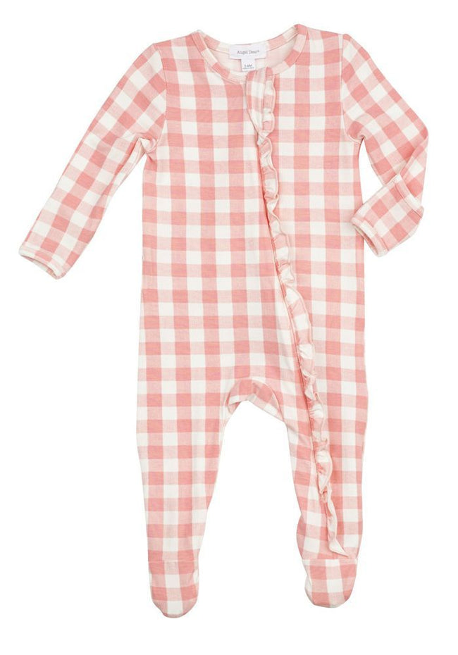 Gingham Pink Zipper Footie
