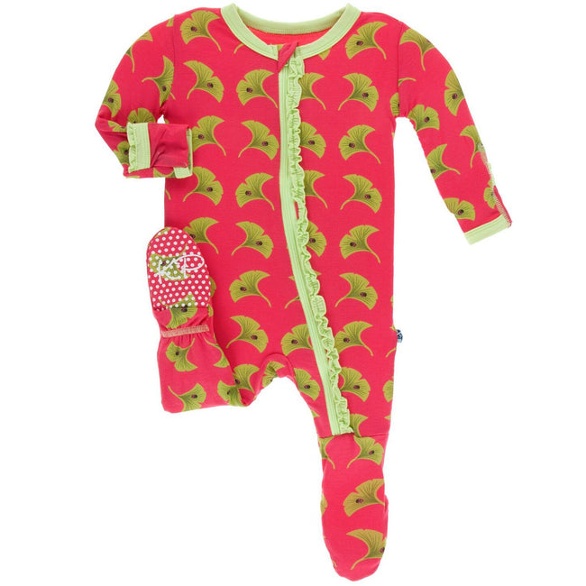 Print Muffin Ruffle Footie with Zipper - Red Ginger Ginkgo