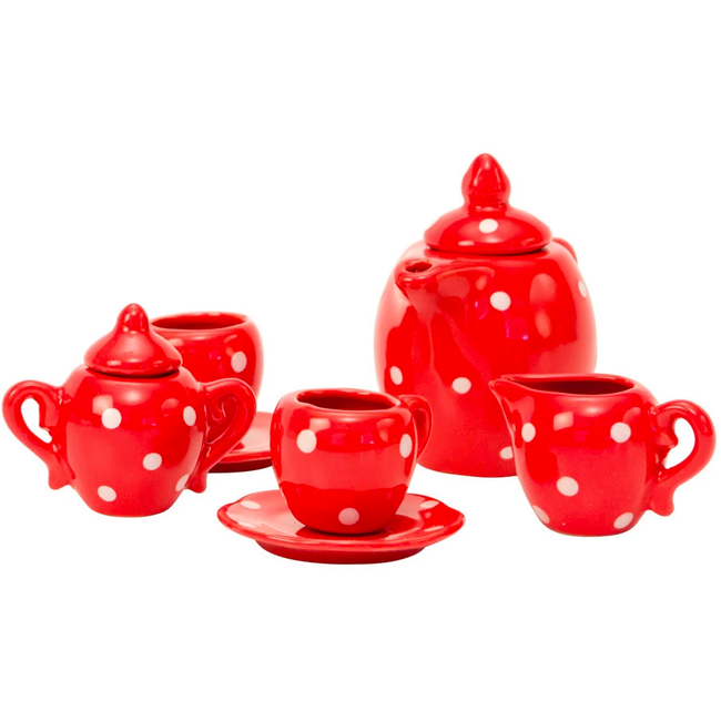 La Grande Famille - Red Ceramic Tea Set