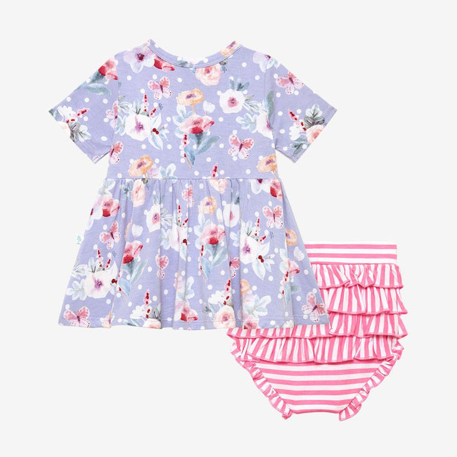 Short Sleeve Peplum Top & Bloomer Set - Samantha