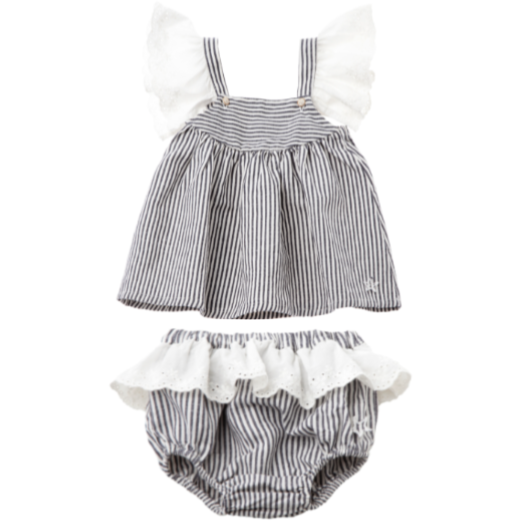 Swiss Embroidery Frill Stripe Dress & Bloomer Set - Navy & White