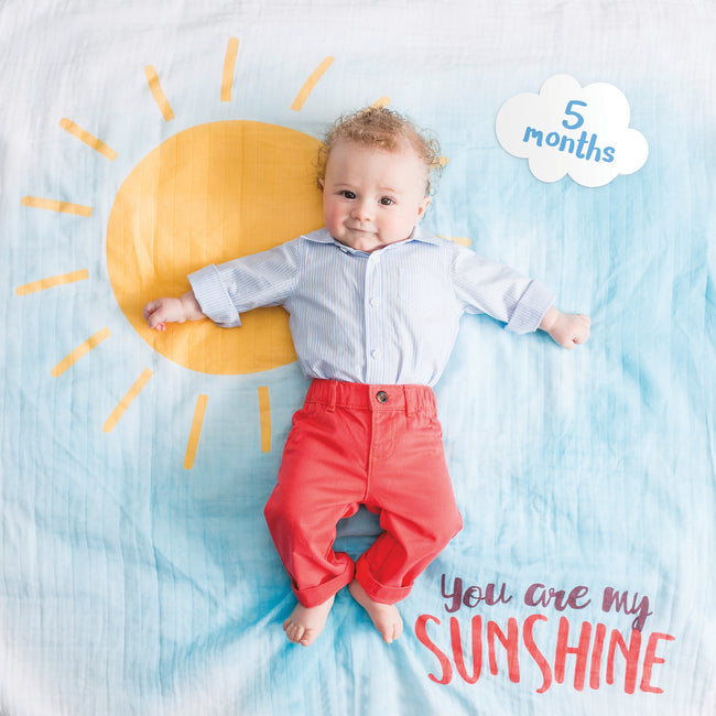 """You Are My Sunshine"" Baby's First Year Blanket & Cards Set"