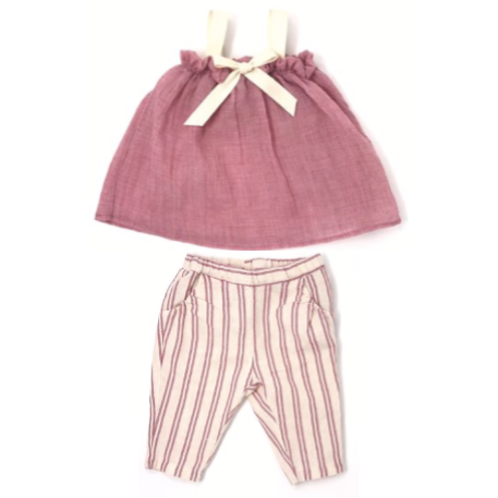 Blouse & Striped Pant Set - Pink & Ivory