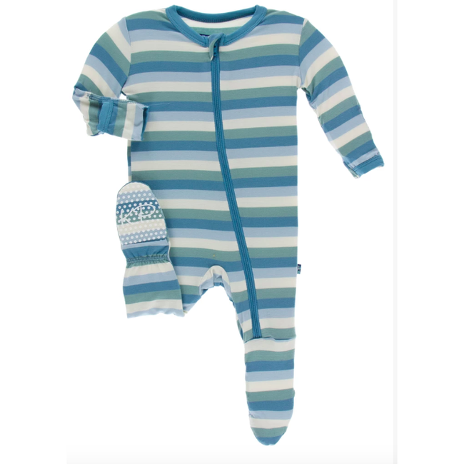 Print Footie with Zipper - Oceanography Stripe