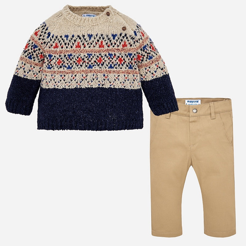 Jacquard Sweater and Trousers Set
