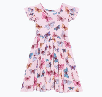 Ruffled Capsleeve Twirl Dress - Nora