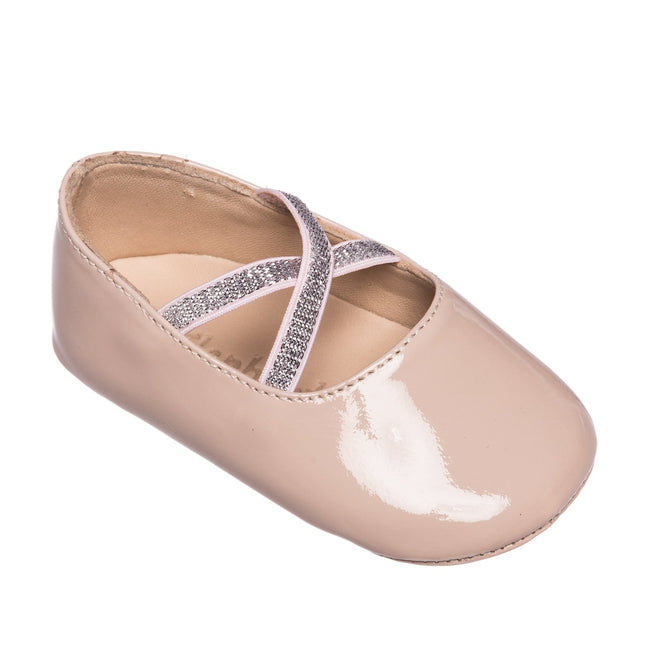 Crossed Ballerina Baby Shoes - Blush