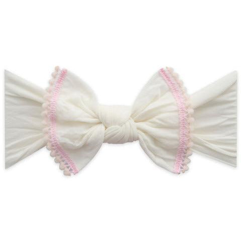 Trimmed Classic Knot Headband - Ivory & Pink