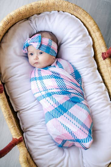 Rosy Plaid Bamboo Swaddle & Headband Set