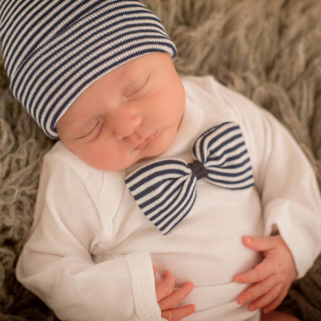 Bowtie Onesie & Hospital Hat Set - Navy Stripe