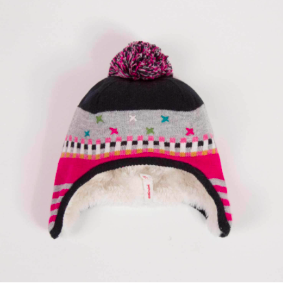 Multicolor Knit Hat with Pom
