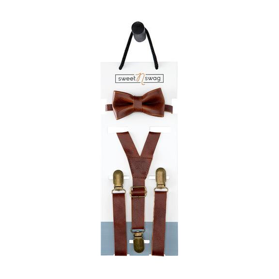 Leather Suspenders & Bow Tie Set - Chestnut